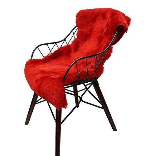 Hollert German Leather Fashion Lammfell geschoren - ROT Farben Merino Schaffell Läufer Dekoration Sitzunterlage Premium Fell Größe 110-120, Farbe Rot -