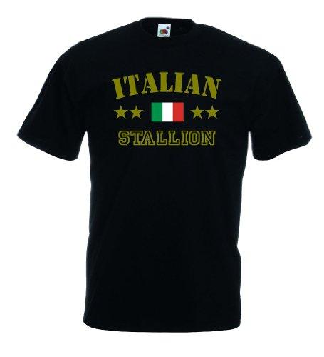 world-of-shirt Italian Stallion Herren T-Shirt Italien|schwarz XXXL