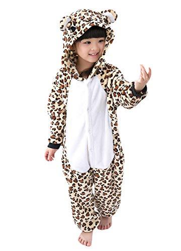 DELEY Unisex Kinder Pyjamas Onesie Cartoon Tier Nachtwäsche Kapuzen Strampelanzug Halloween Cosplay Kostüm Leopard-Bär 7-8 (Kinder Leopard Pyjama)