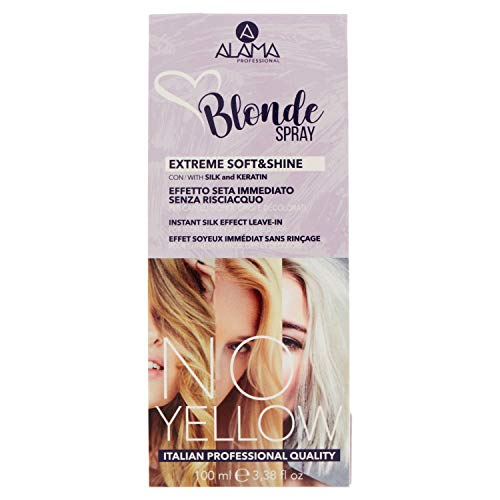 Scheda dettagliata Alama Professional No Yellow Blonde Spray Extreme Soft&Shine - Effetto Seta Immediato - Senza Risciacquo per Capelli Biondi, Grigi o Decolorati - 100 ml