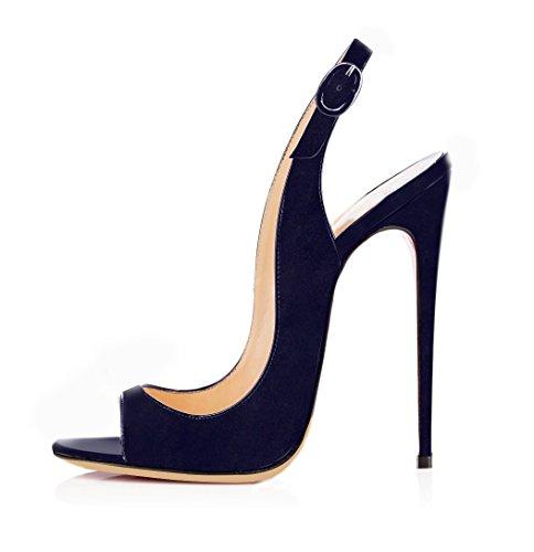 Suede Stiletto Heel (EDEFS Damen Stiletto High Heel Slingback Sandalen mit Schnalle Elegant Peep Toe Schuhe,Suede Navy EU37)