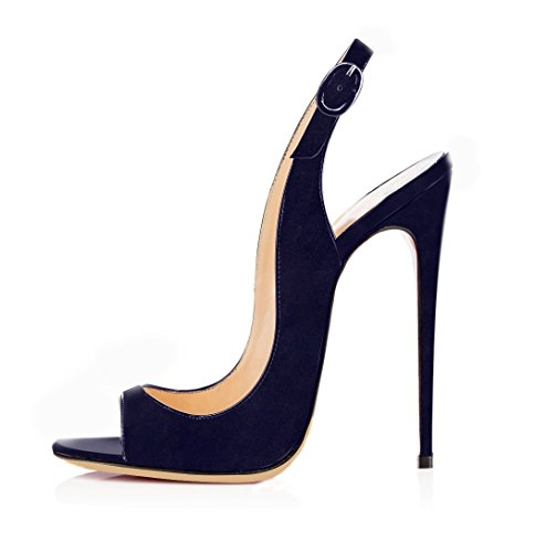 EDEFS Damen Stiletto High Heel Slingback Sandalen mit Schnalle Elegant Peep Toe Schuhe,Suede Navy EU37 Navy Peep Toe Schuhe
