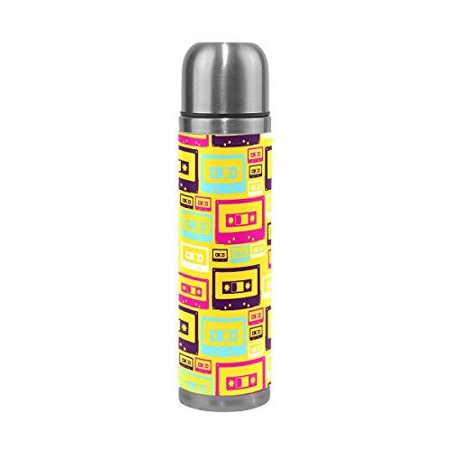 COOSUN Retro Pop Audio Cintas patrón de Acero Inoxidable Frascos de Agua Botella de vacío de la Taza aislada a Prueba de Fugas de la Botella Doble vacío, Viajes PU Taza térmica, 17 oz 17 oz Multicol