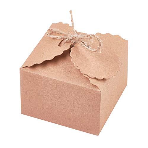 NBEADS 100 Sätze Geschenkbox Süßigkeiten Verpackung Box Papier Geschenkbox mit Hanfseil für Hochzeits- und Partygeschenke, rauchig, 6.5x6.5x4.5 cm; Hanfseil ca. 27.7cm; Etikett: 3.9 cm; Loch: 0.4 cm
