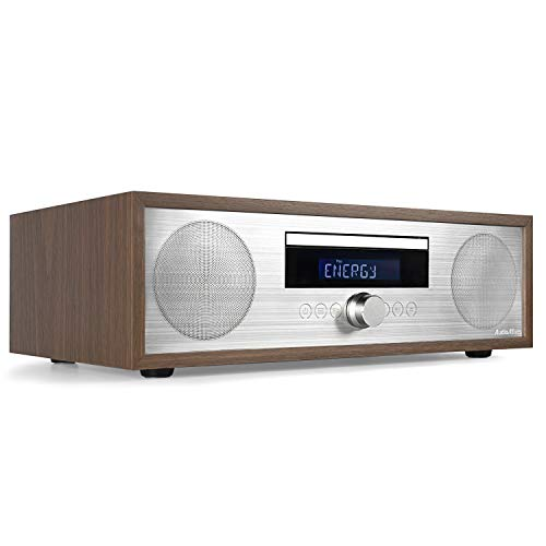 AudioAffairs MCD 010 Stereo Kompaktanlage, DAB + Radio, CD-Player mit Bluetooth, Digital Stereoanlage mit LC Display, Kompaktanlage, USB, AUX-IN, 2 x 25 Watt RMS, inkl. Fernbedienung, Holz-Optik
