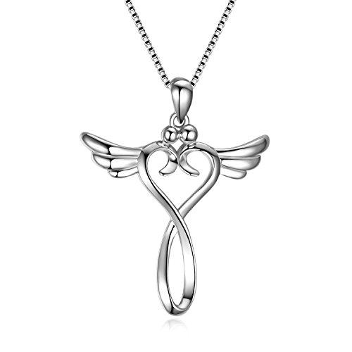 Engel Kreuz Kette 925 Sterling Silber Schutzengel Unendliche Liebe Kruzifix Anhänger Halskette für Damen Mädchen Kinder (Engelsflügel kreuz kette A)