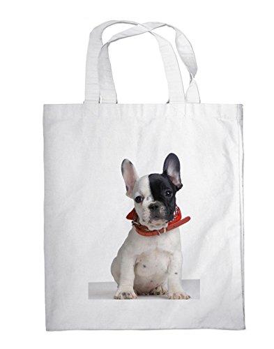 Einkaufstasche / Tragetasche / Shopper / mit Henkeln - 38x42cm - Motiv: Französische Bulldogge Welpe mit Halstuch - 19 (Französisch-halstuch)