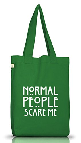 Shirtstreet24, AHS - Normal People Scare Me, Jutebeutel Stoff Tasche Earth Positive (ONE SIZE) Moss Green