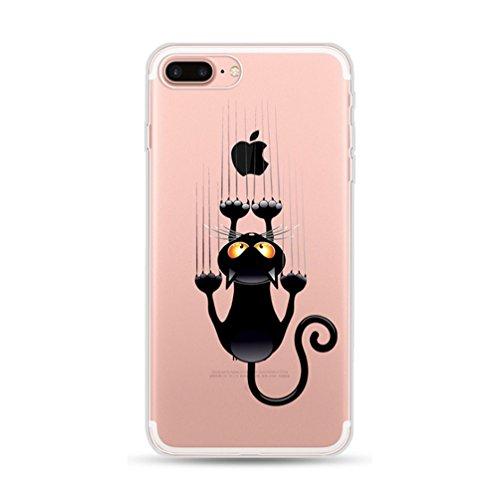 Freessom Coque IPhone 5/5s Silicone Transparente Motif Chat Gratter Dessin Noir Animaux Drole Kawaii Fantaisie Souple Antichoc Cadeau Pas Cher