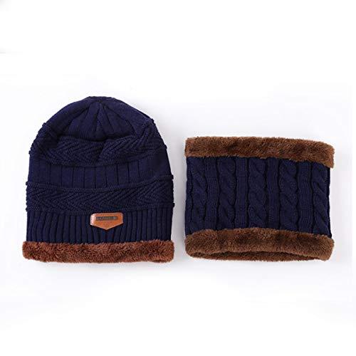 2 Teile/Satz Frauen Wintermütze - Weiche Warme Plüsch Gefüttert Strickmütze Ski Cap & Halswärmer Kreis Schleife Scaves Schal (Color : NavT Blue) -