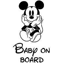 JDM - Vinilo adhesivo para coche, diseño con texto Baby On Board y Mickey Mouse de Disney