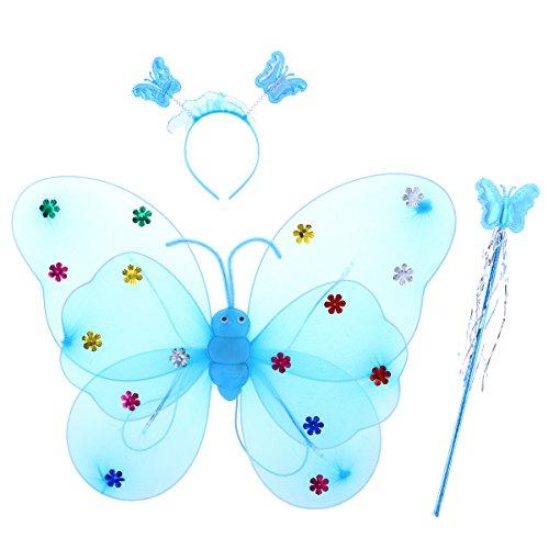 Luoem ali da farfalla led luminose e bacchetta magica cerchietto costume farfalla bambina blu 3 pezzi