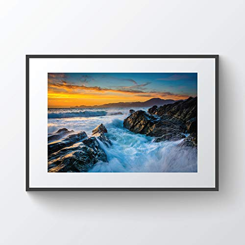 C-US-lmf379581 Waves and Rocks In The Bay at Sunset Seen from Baker Beach San Francisco California Photo Print Metal Canvas Framed -