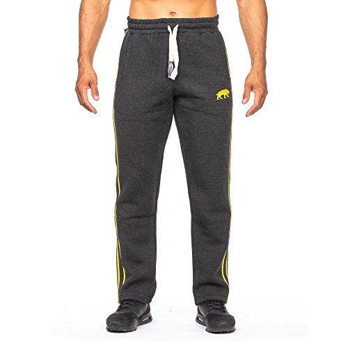SMILODOX Herren Jogginghose | Trainingshose für Sport Fitness Gym Training & Freizeit | Sporthose - Jogger Pants - Sweatpants Hosen - Freizeithose Lang, Farbe:Anthrazit/Gelb, Größe:S