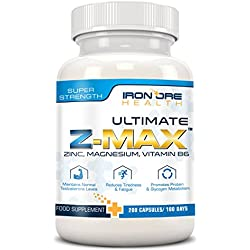 Z-MAX | 200 grageas de zinc, magnesio y vitamina B6 | Mantiene el nivel de testosterona, reduce la fatiga, mejora el sueño, la síntesis proteica | 3 meses de uso | Hecho en el Reino Unido
