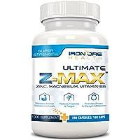 Z-MAX   200 Premium Zink, Magnesium & Vitamin B6 Kapseln   Behält Testosteronspiegel bei, Weniger Müdigkeit, Besserer Schlaf, Protein Synthese   3 Monatsvorräte   Hergestellt von Iron Ore Health im UK