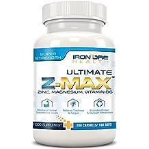 Z-Max - 200 Gélules Prémium Riches en Zinc, Magnésium & Vitamines B6 – Réduit la Fatigue, Améliore le Sommeil, Maintien le Taux de Testostérone, Favorise la Synthèse Protéique – 3 Mois d'Utilisation