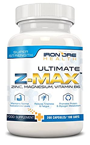 Z-MAx - 200 Premium Zinc, Magnesium & Vitamin B6 Capsules - Maintain Testosterone Levels, Reduce (Grande Magnesio)