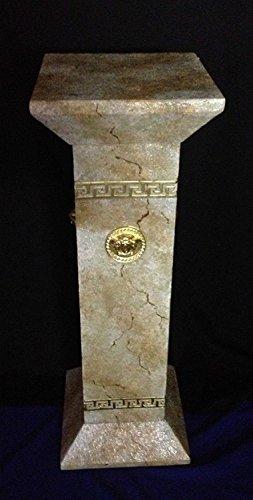 Medusa Colonne grecque Motif R?sine au gel pour l'ext?rieur Socle marbre peint peint ? la main