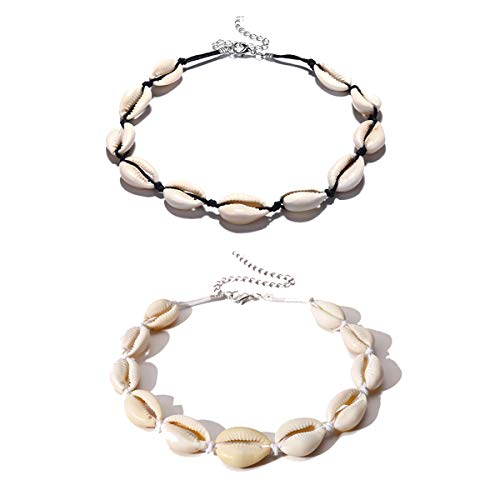 Meetlight Muschelkette Damen Shell Halsketten Handgemachte Hawaii Halskette Schmuck Set für Mädchen Lady Boho Schlüsselbein (2Pcs)