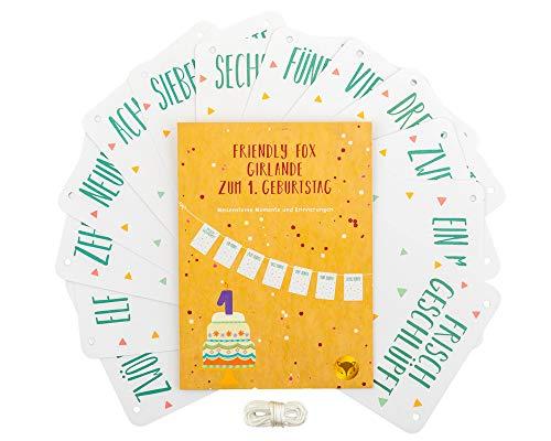 Friendly Fox Girlande zum 1. Geburtstag - Fotogirlande - Wimpelkette - Kinderzimmer Dekoration - Meilensteine im 1. Lebensjahr - Bilderrahmen (Für 1. Geburtstags-geschenk-ideen Jungen)
