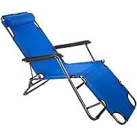 Dominiti Camping Silla/Tumbona para Jardín/Playa/Balcón/Terraza, Azul