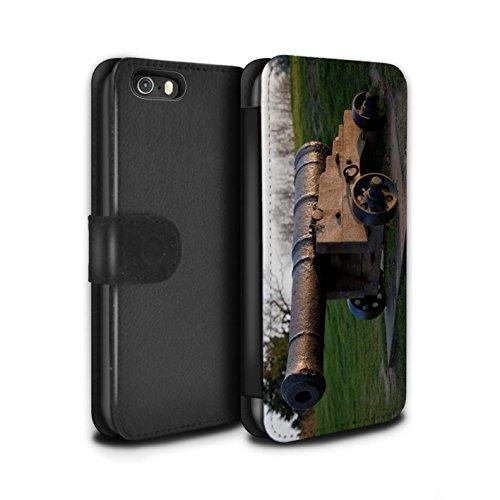 STUFF4 PU-Leder Hülle/Case/Tasche/Cover für Apple iPhone 5/5S / Pack 16pcs Muster / Britischen Küste Kollektion Alte Kanone