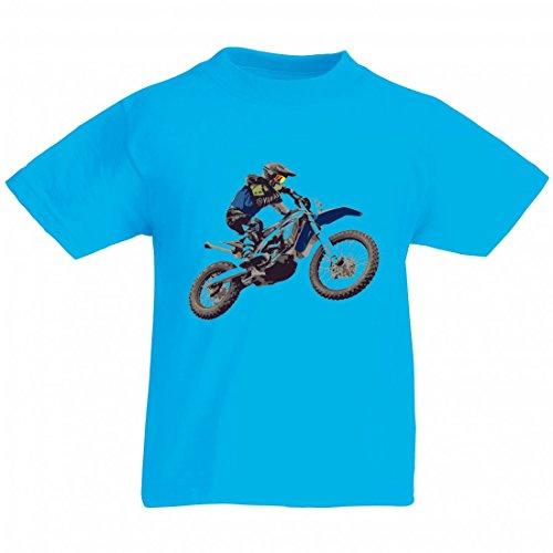 """T-Shirt \""""MOTOCROSS- MOTORRAD- FAHRRAD- SPORT- RENNEN\"""" in Blau für Herren- Damen- Kinder- 104- 5XL"""