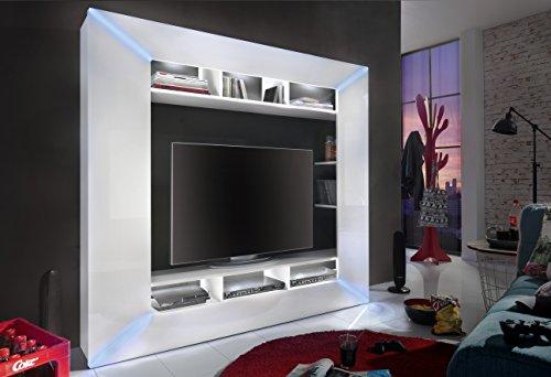 trendteam RC89601 TV Möbel Weiß Hochglanz, BxHxT 186x168x31 cm - 2