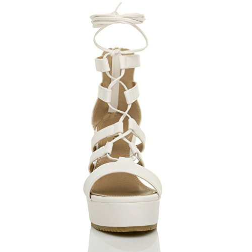 Ajvani Donna zeppa alta cinturino stringhe cerniera gladiatore sandali scarpe numero Bianco opaco