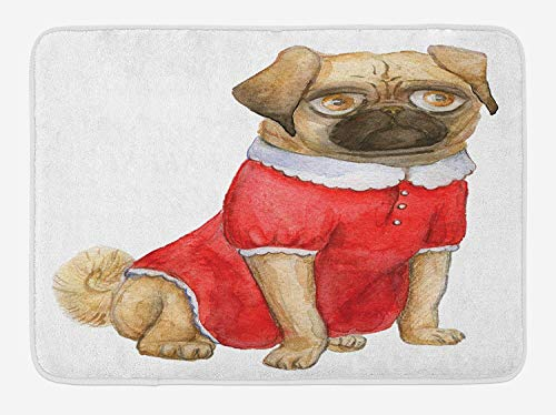 OQUYCZ Pug Bath Mat, Cute Dog in Red Dress Animal Cartoon Style Design Funny Pet Picture Print, Plush Bathroom Decor Mat with Non Slip Backing, 23.6 W X 15.7 W Inches, Pale Brown Red Brown Anchors Away Dress
