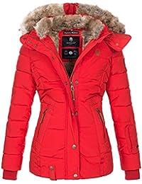 04607353ed0f Marikoo warme Damen Winter Jacke Winterjacke Steppjacke gefüttert Kunstfell  B658