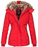 Marikoo warme Damen Winter Jacke Winterjacke Steppjacke gefüttert Kunstfell B658 [B658-Nek-Rot-Gr.S]
