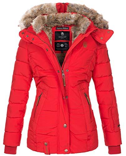 Marikoo warme Damen Winter Jacke Winterjacke Steppjacke gefüttert Kunstfell B658 [B658-Nek-Rot-Gr.XS]