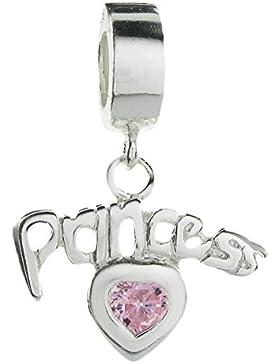 Queenberry Charm-Bead, baumelnd, Desing Princess mit Herz und rosa Zirkonia, Sterling-Silber, im europäischen...