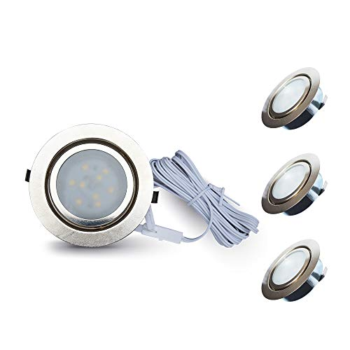 LamPAOUS 2 W LED-Einbauleuchten für Schrank, Unterschrank, Lampe unter Schaufenstern, Spot-Licht, 6000k, 3PCS