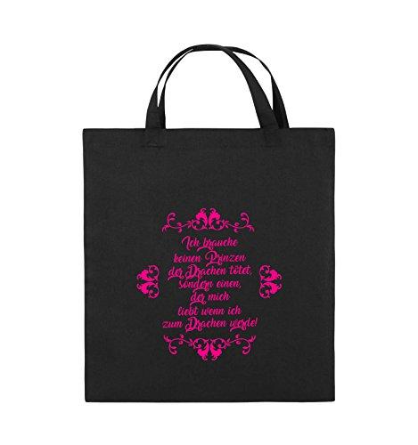 Comedy Bags - Ich brauchen keinen Prinzen der Drachen tötet - Jutebeutel - kurze Henkel - 38x42cm - Farbe: Schwarz / Silber Schwarz / Pink