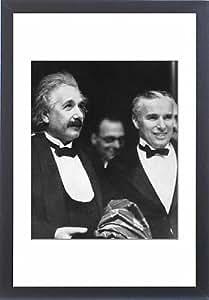 Tableau d'Affiche Motif Albert Einstein et citation avec film Charlie Chaplin au premiere