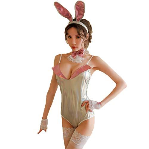 Kostüm Sekretär Hot - WHWH Sexy Dessous Frauen sexy Lackleder Spitze Bogen dunkle Schnalle offene datei Sweet hot Bunny Girl Flirt versuchung,Silver-OneSize