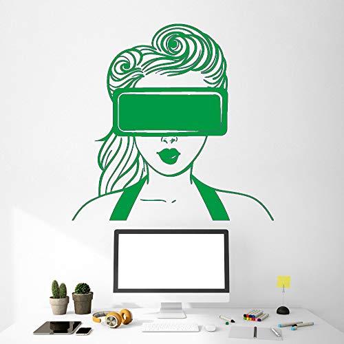 zqyjhkou Aufkleber Virtual Reality Vr Headset Mädchen Kunst Dekoration Vinyl Kunst Wandbilder Wandaufkleber Steuern Dekor Wohnzimmer 5 56x73 cm