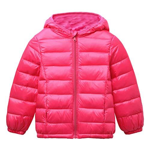 BESBOMIG Kinder Outdoor Daunenjacke Unisex Winddicht Warm Winterjacke mit Kapuze - Leicht Daunen Jacke Reißverschluss Outerwear für Jungen Mädchen
