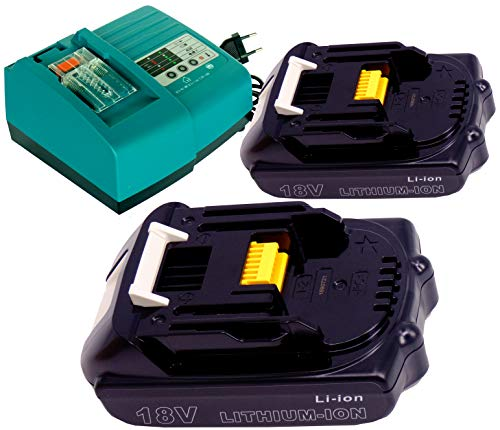 FengWings 18V 1.5Ah BL1815 BL1830 Ersetzen 2PCS Akku mit Ladegerät Kompatibel mit für Makita BPB180Z BUB182Z BMR100 BMR102 radio BMR104 BDA350 BFS450 BHR202 BFR750 BSS610Z BTD140Z BTD142Z 18 Volt-radio