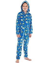 Pijama de una pieza, unisex con capucha, estampado de cómics, con forro polar