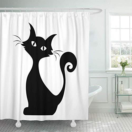 Renfengchui Dusche Vorhänge Mit Haken Halloween Schwarz Silhouette Sitzen Katze Grafik Schwanz Kontur Weiße Vorlage Umriss Badezimmer Dekoration 180 X 180 cm