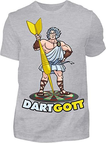 Kreisligahelden T-Shirt Herren Dartgott - Kurzarm Shirt Baumwolle mit Motiv Aufdruck - Hobby Freizeit Fun Dart Darts 180 göttlich (S, Grau)