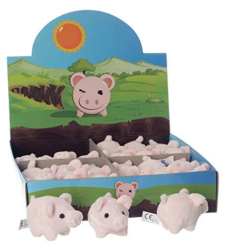 Geschenke-Hensel 24 x Schweinchen im Display, Plüschschwein, 6cm, Glücksschwein -