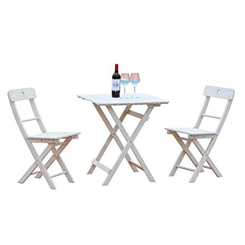 XXHDYR Balcon Table Et Chaises en Bois Pliant Table Carrée en Bois Simple Rétro Trois Pièces Simple Table Couleur Naturelle Importé Poirier Petite Table (Color : White, Size : One Table+Two stools)