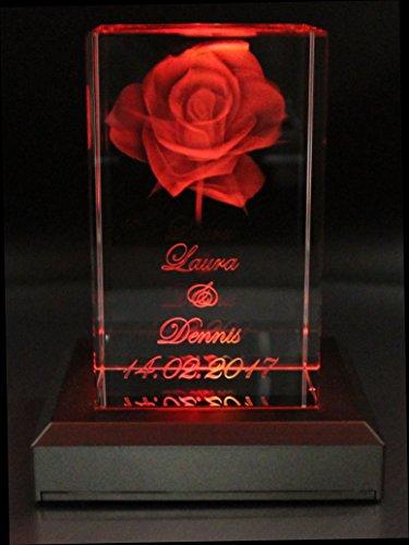 VIP-LASER 3D Glas Kristall Quader XL Rose mit zwei Wunschnamen + Datum im Hochformat - das Top-Geschenk zu Weihnachten!, Beleuchtung:mit Color Leuchtsockel 5 LED Silber
