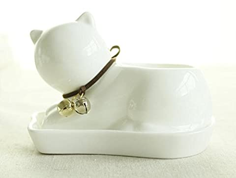 somarke Small Lovely White Ceramic Succulent Plant Flower Pot with Tray, Modern Simple Style Neck with Bell - Cat