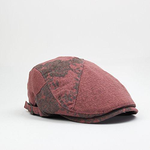GUYOULY Printemps Et Automne Chine Vent Cap Femelle Beret National Vent Avant Cap Homme Coton Respirant Chapeau Homme Voyage,56-58Cm,Rose B